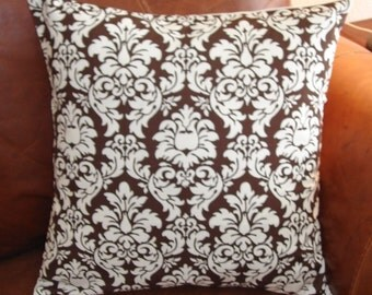 SUMMER SALE - Handmade Throw Pillow Cover, Chocolate Brown Dandy Damask Accent Pillow Cover, Pretty Brown Damask Decorative Cushion Cover