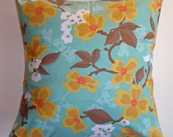 "Throw Pillow Cover, Accent Pillow, Decorative Cushion Cover, Blue Floral Pillow Cover, Dogwood Blooms, Joel Dewberry Fabric, 16x16"" Square"
