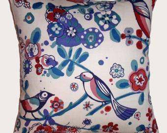 SUMMER SALE - Throw Pillow Cover, Floral Red White & Blue Whimsical Birds Accent Pillow Cover, Pretty Decorative Handmade Cushion Cover