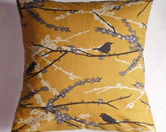 SUMMER SALE - Throw Pillow Cover, Handmade Accent Pillow Cover, Sparrows & Floral Accent Pillow Cover, Sparrows in Vintage Yellow Cushion