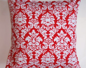 "Handmade Throw Pillow Cover, Toss Pillow Cover, Candy Apple Red & White Dandy Damask Pillow Cover, Michael Miller Fabric, 16x16"" Square"