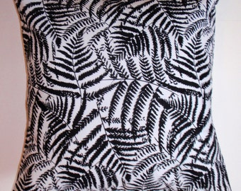 Throw Pillow Cover, Black & White Floral Silhouette Pillow Cover, Decorative Ferns in Black Cushion Cover, Springs Creative Fabric, 16x16""