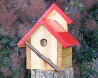 Bird House - A Persnickety Rustic RED Bird House - Handmade & Painted in Reclaimed Wood and Branches, Charming Backyard Bird House