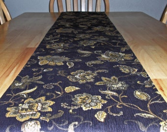 "Table Runner - 72x12.5"" Elegant Floral Tapestry in Black & Gold With a Solid Black Back - Reversible RUNNER - Floral Table Runner - Handmade"