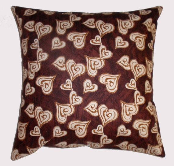 "Throw Pillow Cover, Coffee Hearts Pillow Cover, Toss Pillow, Accent Pillow, Brown Pillow Cover, Pillowcase, Studio e Fabric, 16x16"" Square"