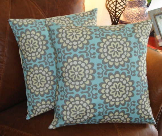 """Throw Pillow Covers - 16x16"""" Set of 2 sewn with Amy Butler's Wallflower Sky - Retro Modern Floral Throw Pillow Covers - Sky Blue"""
