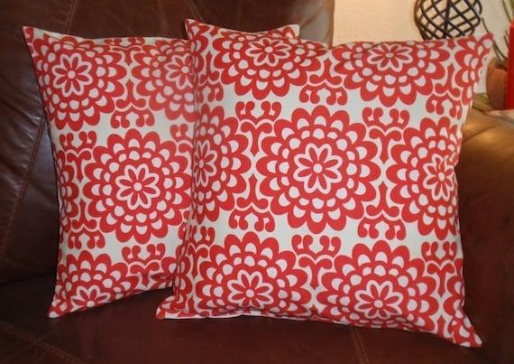 "Throw Pillow Covers, 16x16"" Set of 2 Amy Butler's Wallflower Cherry Red, Toss Pillow, Accent Pillow, Decorative Cushion, Pillowcase, Bedding"