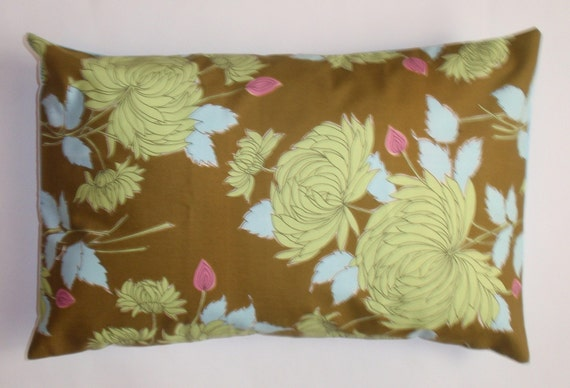 Throw Pillow 12x18 Removable cover sewn with Amy Butler's Chrysanthemum in Olive LAST ONE Discontinued Fabric