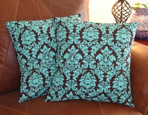 """Throw Pillow Covers - 16x16"""" Set of 2 sewn with Michael Miller's Dandy Damask in Spa - Turquoise & Brown - LAST ONE Discontinued Fabric"""