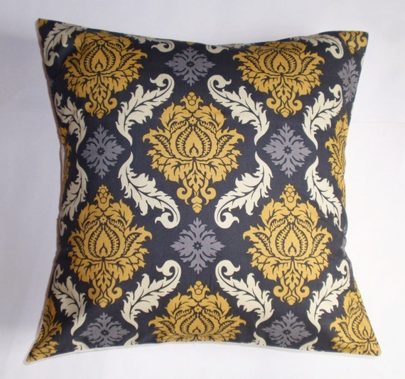 "Throw Pillow Cover - 16x16"" - Joel Dewberry's Damask in Granite from the Avairy Collection - Elegant Gray & Yellow Damask Pillow Cover"