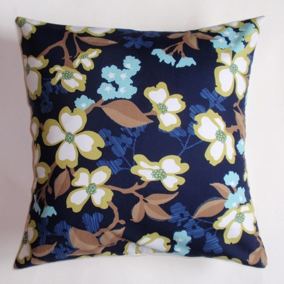 "Throw Pillow Cover, Accent Pillow, Decorative Cushion, Navy Blue Floral Pillow Cover, Dogwood Blooms, Joel Dewberry Fabric, 16x16"" Square"