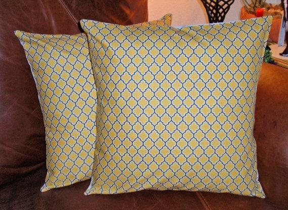 Throw Pillow Covers, 16x16 Set of 2, Joel Dewberry, Lodge Lattice Vintage Yellow, Toss Pillow, Accent Pillow, Decorative Cushion, Pillowcase