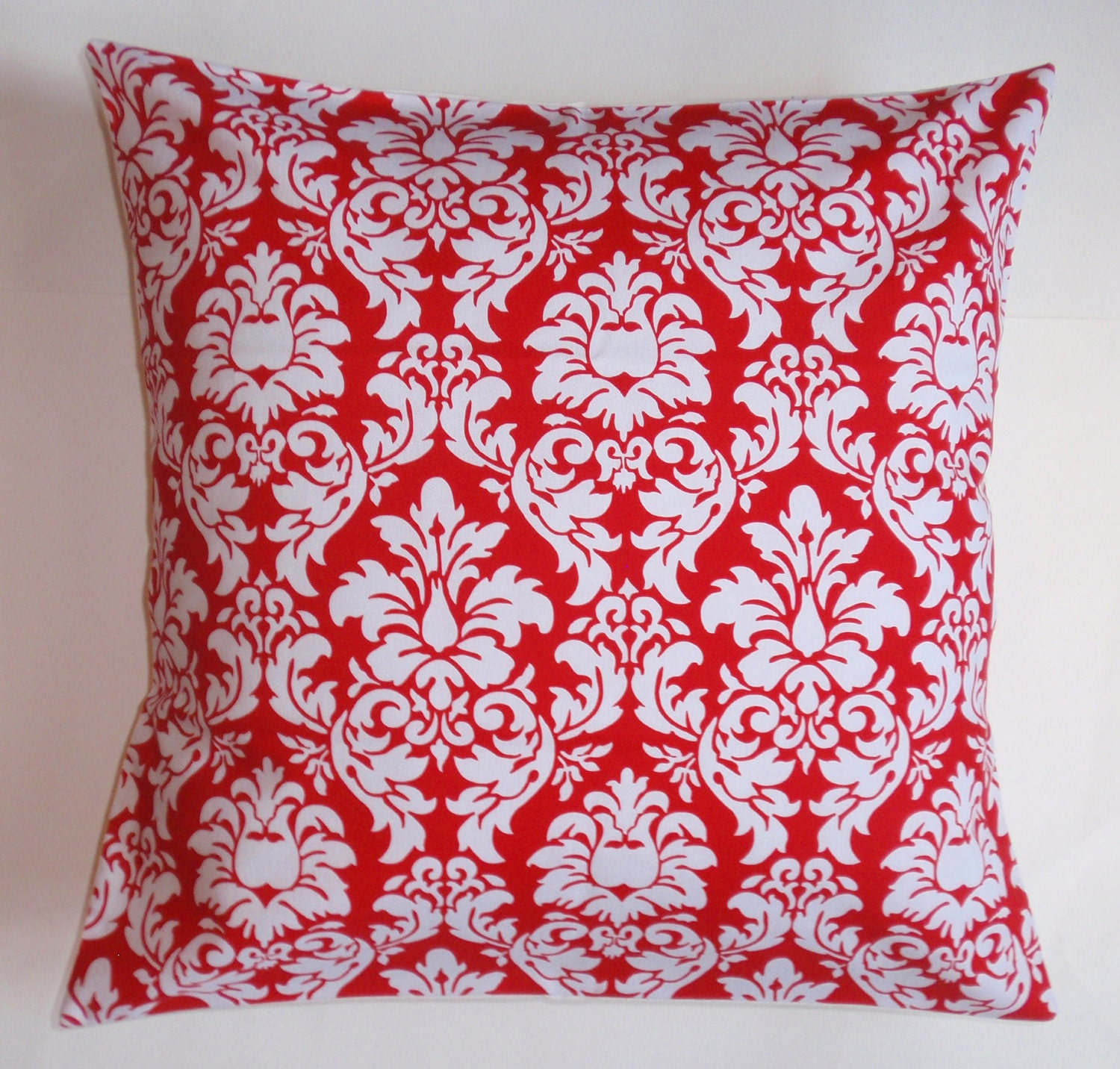 Handmade Throw Pillow Cover Candy Apple Red & White Dandy