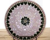 Mosaic Heart Shaped Pebble Bowl and Matching Coasters