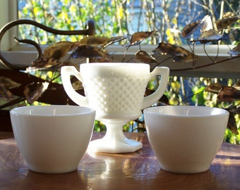 Milk Glass Set Includes Anchor Hocking Custard Bowls - ReDuCeD