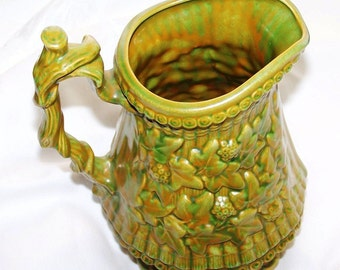 Vintage Olive Mustard Patterned Pitcher - A True Olive Fall Varietal