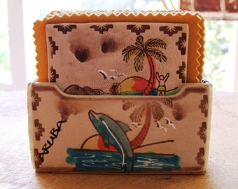 Vintage Tropical Coaster Set Exquisitely Detailed -  ARUBA OF COURSE