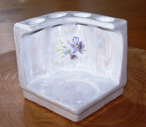 Vintage Iridescent Glazed Ceramic Holder - ReDuCeD