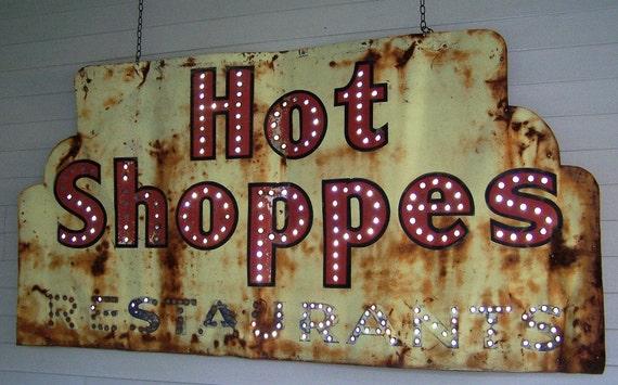 Vintage Metal Hot Shoppes Restaurants Sign