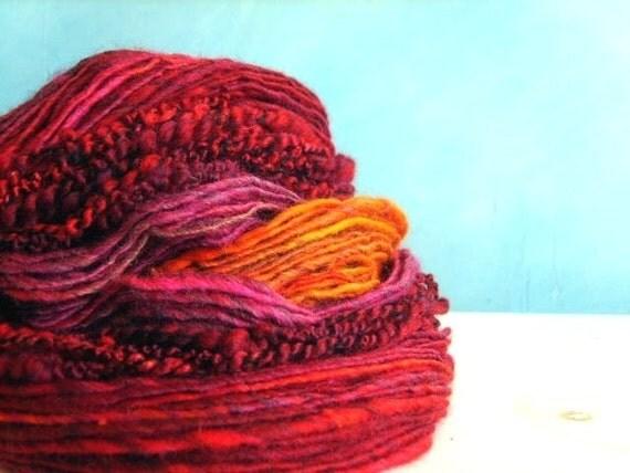 BUNDLE texture chilli handspun yarn art merino silk