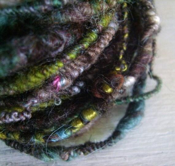 Hand spun yarn Coil Bulky Moss Art Yarn 28yrds