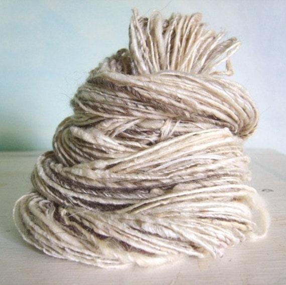 Natural Celebration  hand spun yarn texture slubb wedding  baby 122 yards