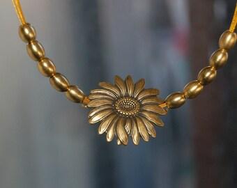 Golden Sunflower Pendant Choker Necklace