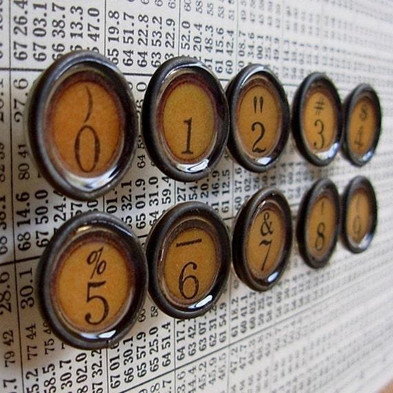 Number \/ Symbols in Tan - Faux typewriter key thumbtacks