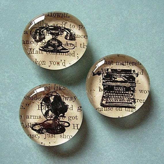 Magnet / Vintage Typewriter / Telephone / Fan / Glass