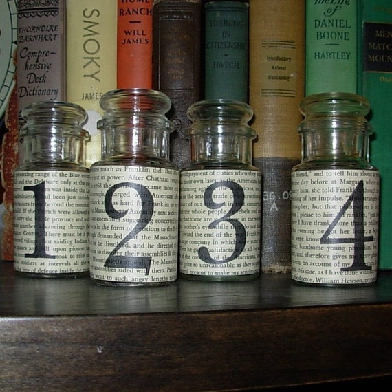 Four Glass Bottles with  Numbers 1, 2, 3, 4