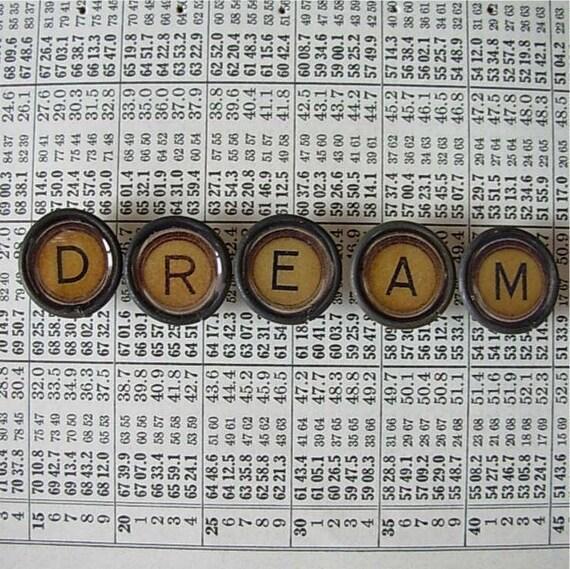 DREAM in tan - Faux typewriter key thumbtacks