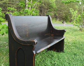 """Custom for Terry - 60"""" Black, Dropped-Arm Wooden Church Pew"""