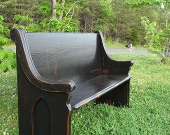 "62"" Black Wooden Church Pew"