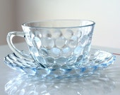 Anchor Hocking Sapphire Blue Bubble Cup and Saucer
