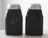 SALE - McKee Black Roman Arch Salt and Pepper Shakers