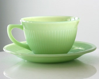 Fire King Jadite Jadeite Jane Ray Cup and Saucer with Foil Label Sticker