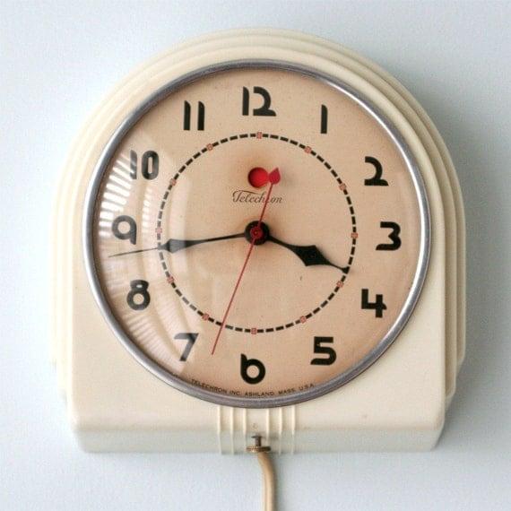 Vintage Telechron Buffet 2h07 Art Deco Wall Clock