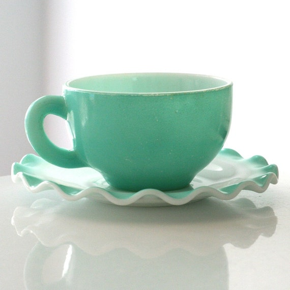 RESERVED - Hazel Atlas Turquoise Crinoline Cup and Saucer