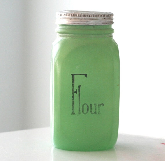 SALE - Anchor Hocking Green Fired-On Flour Shaker