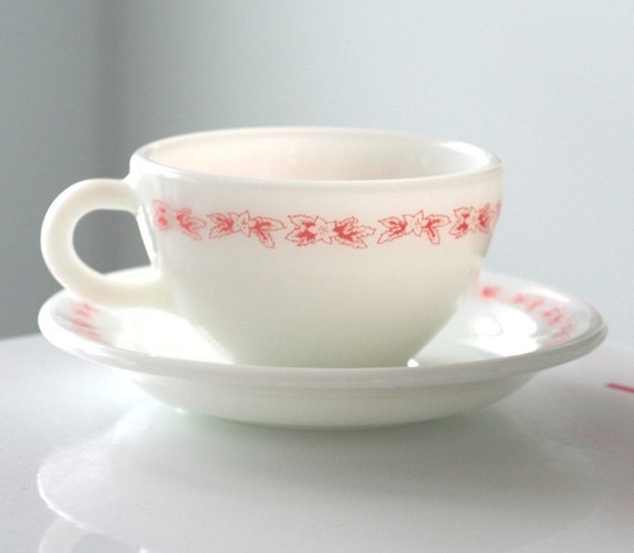 Pyrex Double Tough Milk Glass with Pink Flowers Cup and Saucer