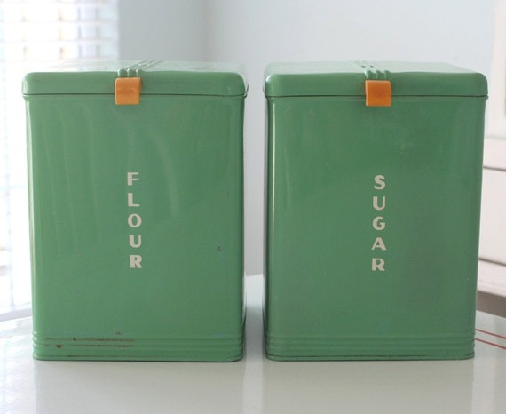 Kreamer Green Flour and Sugar Canisters