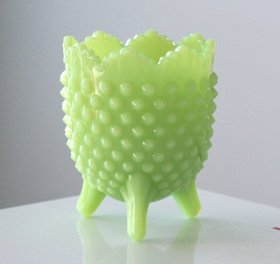 Fenton Jadite Hobnail Footed Planter with Label