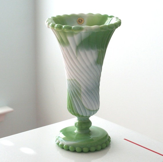 RESERVED - Westmoreland Green Slag Trumpet Vase with Beaded Edge
