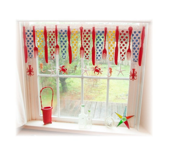 Reserved for Kerin Cape Cod Cottage Handpainted Glass Window Treatment  Valance