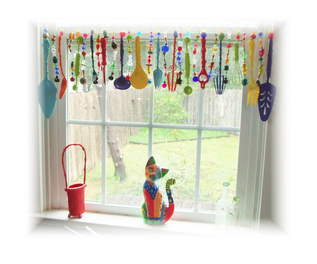 Super kitchy colorful whimsical kitchen window treatment for Kitchen window curtains