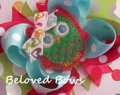 Embroidered Felt Owl Boutique Style Birthday Hair Bow