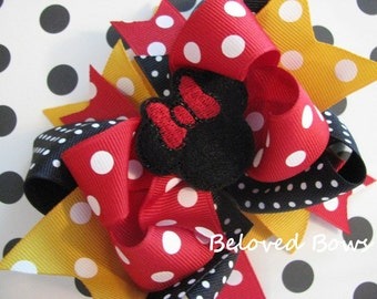 Embroidered Minnie Mouse Boutique Style Hair Bow Red Yellow Black
