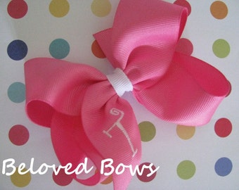 Monogrammed Hair Bow,  Choose 4 or 5 inch size, Birthday Bow, Back To School Hair Bow, Initials Hair Bow
