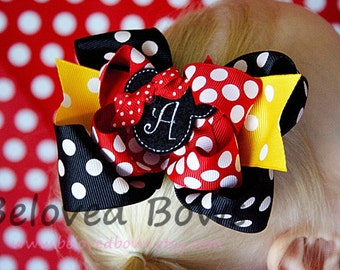 Embroidered Felt Miss Mouse Layered Boutique Style Hair Bow, Red Black Yellow