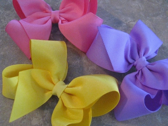 Set of Three Toddler Hair Bows---4 Inches